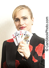 holding donna, giovane, carino, cartelle, gioco