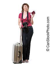 holding donna, giovane, passaporto, biglietto, turista