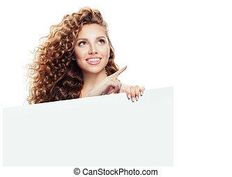holding donna, indicare, isolato, su, cartone, fondo, bianco, vuoto, felice