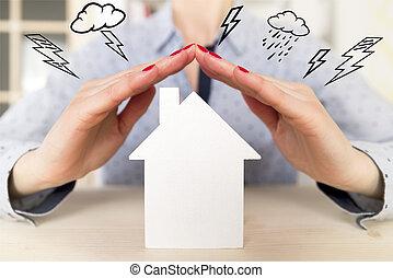 holding donna, lei, mani, sopra, bianco, piccolo, modello, casa, come, uno, segno, di, casa, protezione, e, assicurazione