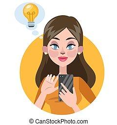 holding donna, mobile, idea, telefono, possedere