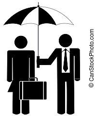 holding donna, ombrello, uomo