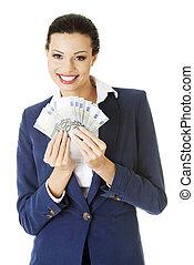 holding donna, soldi, felice, euro