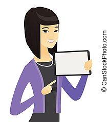 holding donna, tavoletta, affari, asiatico, computer.