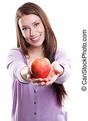 holding donna, un, mela