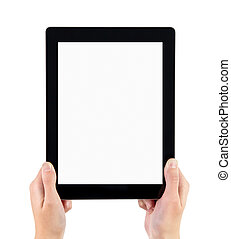 Woman hands holding electronic tablet pc with blank screen. Isolated on white.
