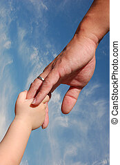 Holding father's hand - Kid holding father's hand isolated ...