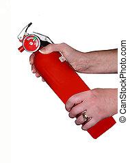 HOLDING FIRE EXTINGUISHER