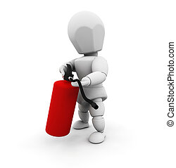 Holding fire extinguisher - 3D render of a person holding a...