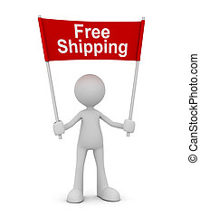 holding free shipping concept 3d illustration
