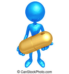 Holding Giant Pill - 3D Concept And Presentation Figure