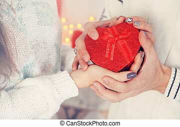 holding gift, tinted