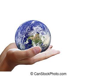 holding glowing earth globe