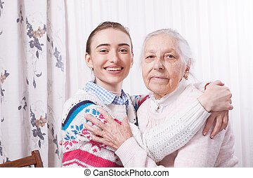 Holding hand. Home care elderly concept.