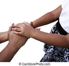 Holding hands - African-American family: mother and child...