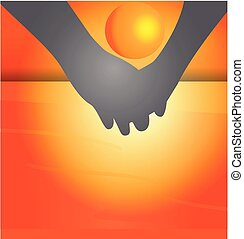 Holding hands and beach sunset vector