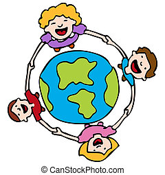 Holding Hands Around The Earth - An image of a children...