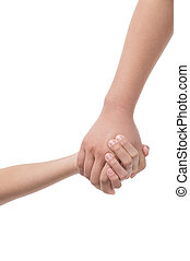 Holding hands. Close-up of child and adult person holding...