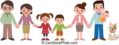 Holding Hands happy family - Vector illustration.