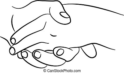 holding hands - simple line drawing of two hands holding