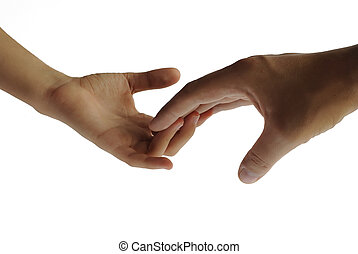 Two hands touching each other gently