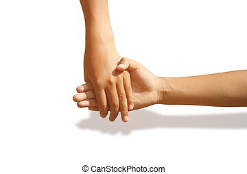 Holding hands with love and bonding on a white background.