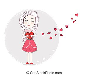 Holding heart sad girl art vector