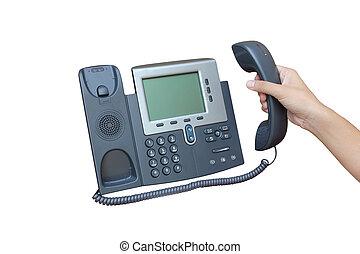 Holding IP phone isolated over white backgroud