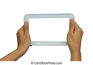 Holding Isolated tablet on white background