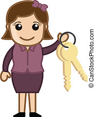 Holding Key Chain Cartoon Vector
