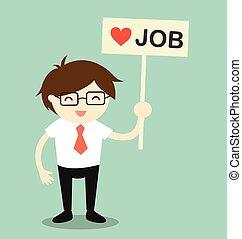 Holding 'love job' banner.