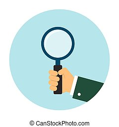 Business man hand holding magnifying glass