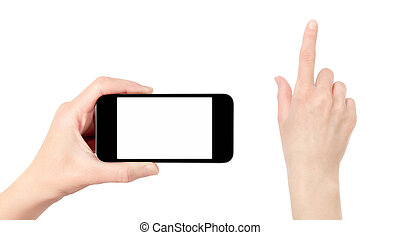 Holding Mobile Phone With Touching Hand Isolated