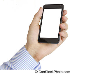 Holding Mobile Smart Phone In Hand