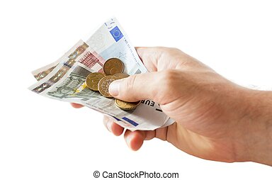 holding money in the hand, isolated