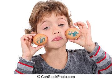 Holding my eyes on eggs