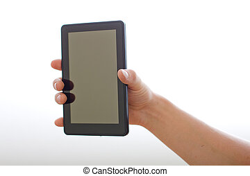 holding on tablet pc.