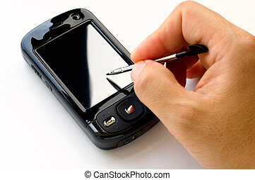 Holding pda and stylus