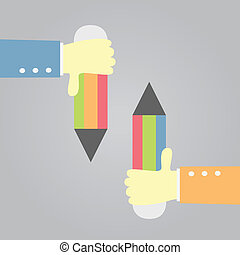 holding pensil - hand holding a pencil. vector.