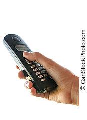 Holding portable telephone handset