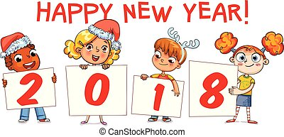 Holding poster New Year 2018. Funny cartoon character -...