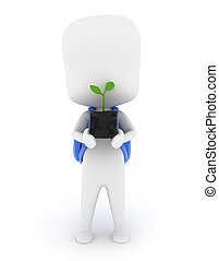 Holding Seedling - 3D Illustration of a Kid Holding a...
