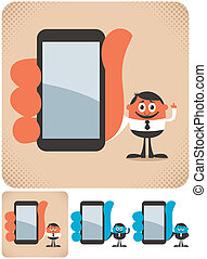 Businessman showing you something on his smartphone. The illustration is in 4 versions. No transparency and gradients used.