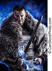 holding sword