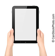 Holding Tablet PC In Hands Isolated