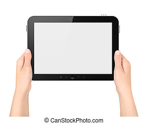 Woman holding digital tablet with blank screen. Isolated on white.