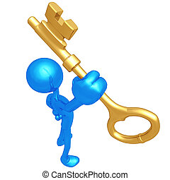 Holding The Gold Key - 3D Concept And Presentation Figure