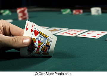 Holding the winning hand during poker game