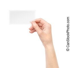 Holding transparent blank business card