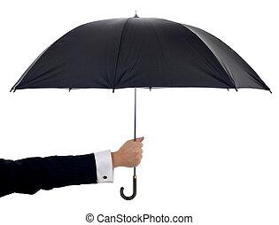 holding umbrella